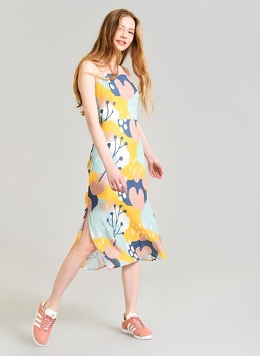 Agenda Geometrik Desenli Elbise Sarı